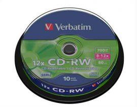 CI - Verbatim CD-RW 700MB 8-12x újraírható cd lemez, 10db/henger