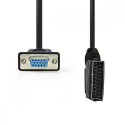 KÁBEL - SCART(M) apa - VGA(F) anya kábel, 2,0m, fekete