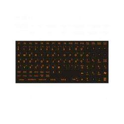 B - Billentyűzet matrica, magyar, élénk, narancs betű fekete alapon