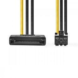KÁBEL - Tápkábel - PCIexpress 6pin, SATA tápról alakít, Nedis CCGP74200VA015