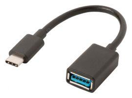 KÁBEL - USB 3.0 USB-C dugó - USB-A aljzat 0.15m, fekete, CCGP61710BK02, OTG