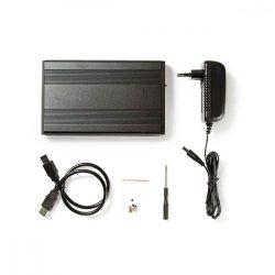 """WH - 3.5"""" külső ház SATA, USB 3.0, Nedis HDDE35200BK"""