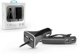 USB - USB töltő, autós, 4xUSB, 7.3A, PT-4244