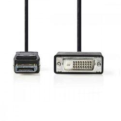 KÁBEL - Display port (M) - DVI-D (M) kábel,  2m, Nedis CCGP37200BK20