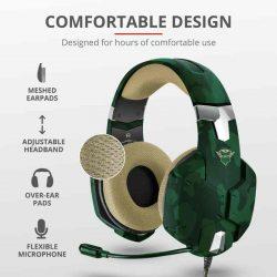 HKM - Mikrofonos fejhallgató, Trust GXT322C Carus Gaming Headset, jungle camo