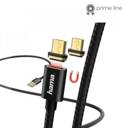 KÁBEL - USB 2.0 A-B MicroUSB kábel 1.0m, mágneses, Hama