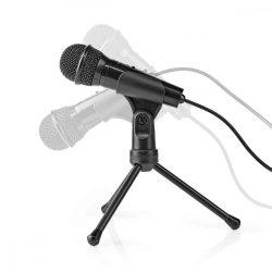 HKM - Mikrofon, asztali, Nedis mikrofon, háromlábú állvánnyal, jack