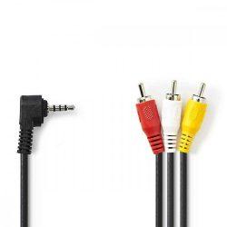 """KÁBEL - Audio-Video kábel 3.5"""" jack-3RCA  1.0m, Nedis CVGP22400BK10"""