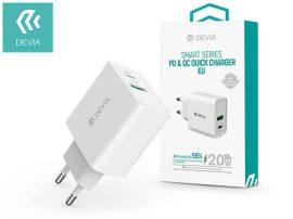 USB - USB töltő, hálózati, 1xUSB-C+1xUSB-A, 20W, PD3.0+QC3.0, Devia, fehér
