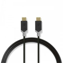 KÁBEL - USB 3.2 Gen.1 (5 Gbps) Type-C kábel, 1m, fekete, 60W, Nedis
